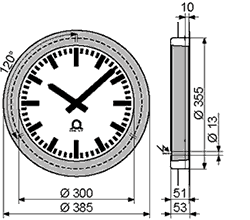 dimensions for single sided flex analog clocks