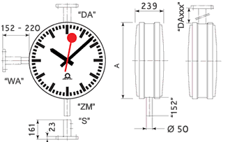 double-sided metroline outdoor clock case detail