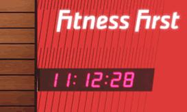Wharton six digit digital clock in gym entrance