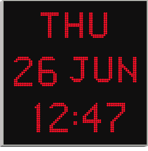 large time and date wall clock with red characters