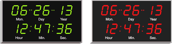 4550 calendar clocks with green or red digits