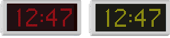 Colour options for Wharton outdoor digital clocks with 12cm digits showing ultra bright re and yellow/amber digits