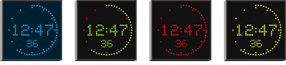 blue, green&red, red and yellow/amber digit color options for Wharton 4900 series studio clocks