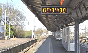 Wharton outdoor digital clock at Colchester Railway Station with LUL and Network Rail Infrastructure approval (PA05/03968).
