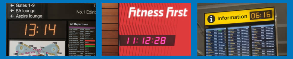 Digital clocks for command and control, factories and warehouses, fitness and leisure centres, information boards, offices, public spaces, radio and TV broadcast studios and control rooms and schools