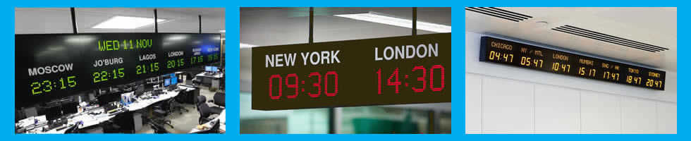 World time zone display clocks and Ethernet time servers for international financial markets. Credit-1: ProAV Limited, Credit-3: Andrew Twort / Alamy