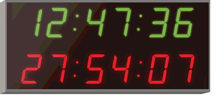Wharton dual display digital wall clock and stopwatch for medicine, laboratories and research
