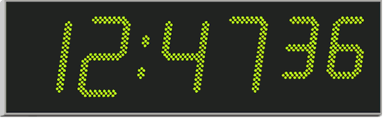 Wharton 4000.220 series very large commercial and industrial digital wall clock with six 220mm and 170mm  green digits