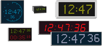 Custom and standard range digital clocks for wall mounting, panel mounting or ceiling suspension