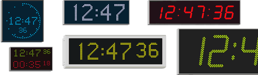 Wharton large digital wall clocks are available with red, yellow, green, blue or white characters