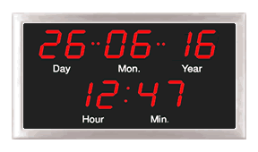 Wharton network calendar clock with blue digits