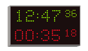 dual display stopwatch with time-of-day clock