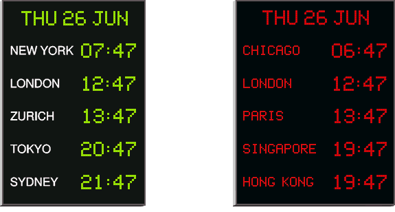 4700N/5 world time zone clocks with green digits and white printed location lables on left and red digits and red illuminated locations on right