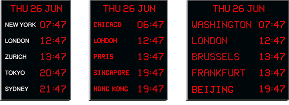 Wharton digital world time zone clocks with red digits. Image copyright © 2019.
